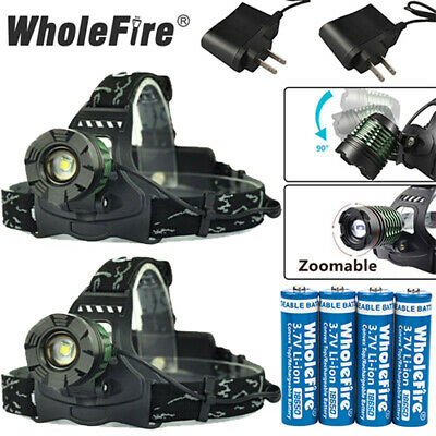 900000LM Zoomable Headlamp T6 LED Headlight Flashlight +Charger+18650 Battery US