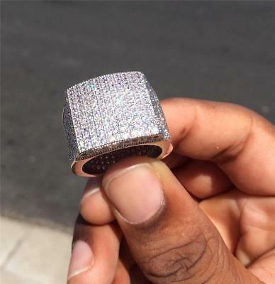Men S Micro Pave 14k Solid White Gold D Vvs1 Iced Out Diamond Pinky