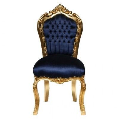 Dining room chairs, gold-leafed solid wood Navy Blue velvet