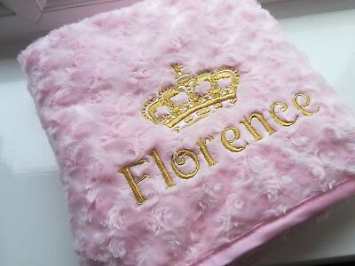 Crown Stunning White Pink Blue Boy Girl Personalised Embroidered Baby Blanket