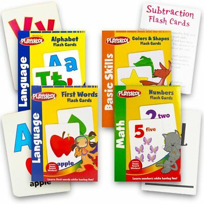 Playskool Flash Cards 4pcs SET Alphabet / First Words / Shapes Colors / Numbers.