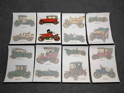 Vintage Lot X 8 Antique Cars Transfers  Decal Sheets Made In Spain Ortega