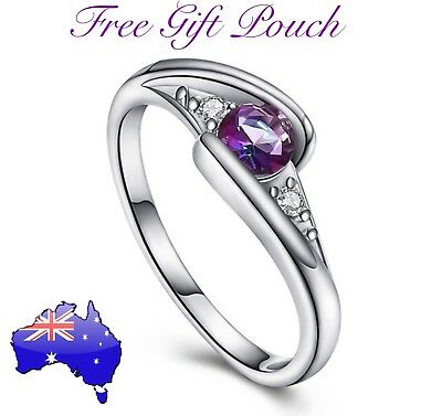 Purple Rainbow Topaz Crystal 925 Sterling Silver Ring Women's Jewellery Gift NEW
