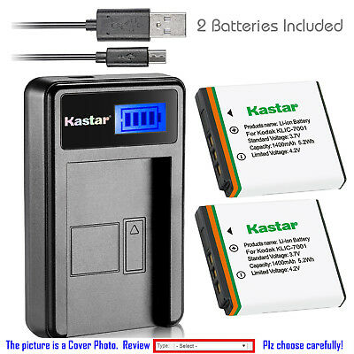Kastar Battery LCD Charger for KLIC-7001 K7001 & ROLLEI CL200 CL-200 Camera