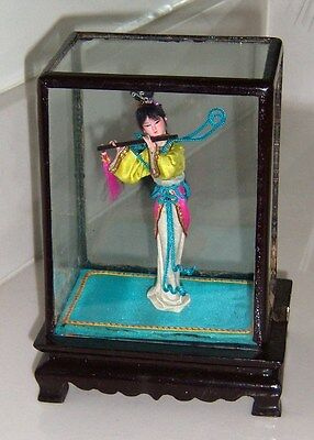 """Vintage Chinese Asian Oriental 4"""" DOLL IN 6"""" GLASS CASE 1980's New in Orig Box"""