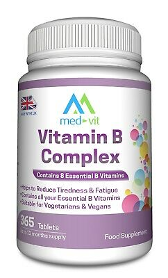 Med-Vit Vitamin B Complex 365 tablets (1 year supply) Contains all 8 B vitamins