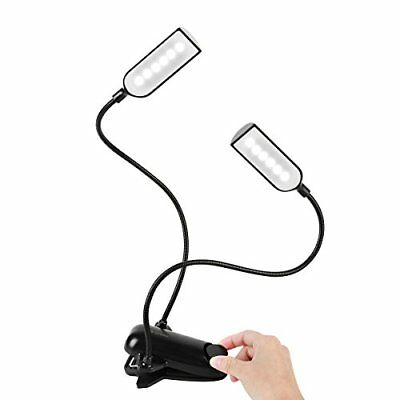 Anpress Book Light Clip-on Music Stand Lights Bed Reading Lamps 18650 Battery 12