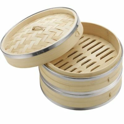 2 Tier 8'' Bamboo Steamer Basket Cooker Chinese Food Vegetable Fish Rice Dim Sum