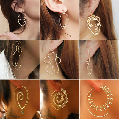Hollow Human Face Cutout Dangle Drop Earrings Art Deco Abstract Stud Ear UK