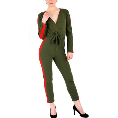 Womens Ladies All in One v Neck Full Sleeve Side Stripe Belted Jumpsuit Playsuit