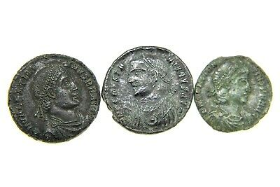LOT OF THREE LATER ROMAN IMPERIAL FOLLIS.  1v360