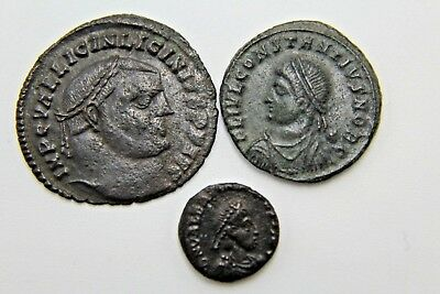 LATER ROMAN IMPERIAL AE FOLLIS. LOT OF THREE.  1v292