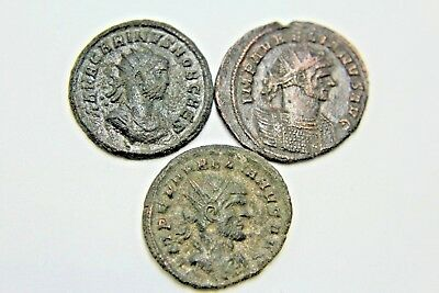 LATER ROMAN IMPERIAL AE ANTONINIANUS. LOT OF THREE.  2v90