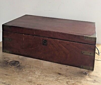 Antique 19Thc  Mahogany Campaign Style Writing Slope /  Box