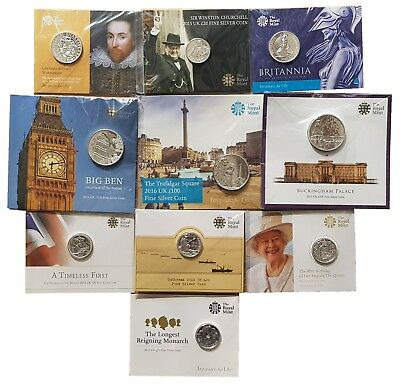 Royal Mint Fine Silver Commemorative £20 £50 £100 Coins Carded Choose Your Year!