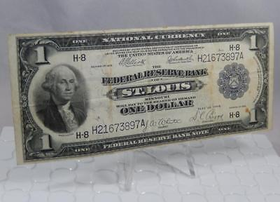 Series 1918 $1 One Dollar Federal Reserve Note H St. Louis FRN Large Bill P0153