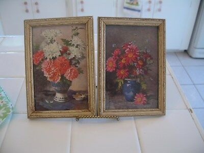 Beautiful Vintage Pair Of Framed Floral Prints Pictures Flowers In