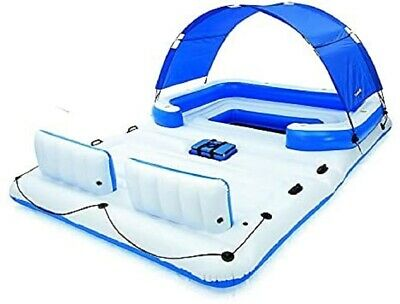 Floating Island Inflatable Large Lounge Float Water Rafts w/ Sun Shade 6 Person