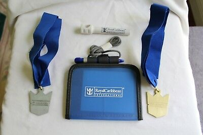 Set of 4 Royal Caribbean Cruise 1 I.D. Holders 2 Medals and 1 Corkscrew NEW