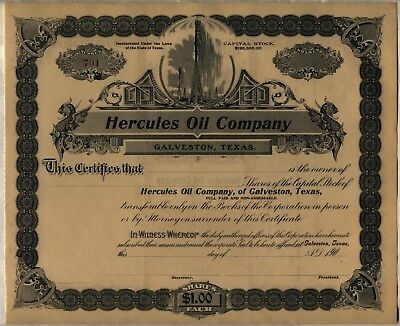 Hercules Oil Company Stock Certificate Galveston, Texas
