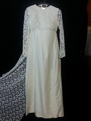 Vtg 1960s Lorrie Deb Wedding Dress Gown Ivory Empire Waist Lace Top & Train PS 5