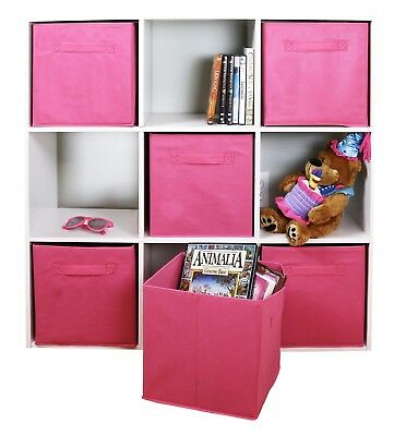 6 PCS Home Pink Storage Bins Organizer Fabric Cube Boxes Basket Drawer  Container