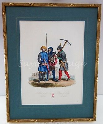 Antique RARE Original Hand Colored Etching 1800's Soldiers of The Henry III.