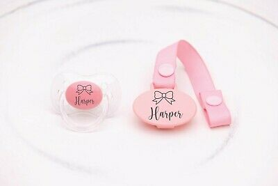 Personalised Soother **Cherry & Avent Style Teat** More Colours, Bow, Baby Gift