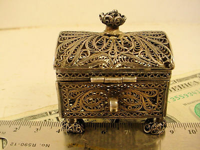 Sgnd 1881 88 Moscow Russian Silver Filagree Footed Domed Trinket Box