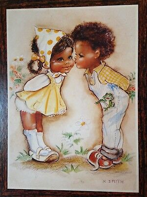 Vintage African-American Little Boy & Girl Sweet Print By K.smith 1980's Rare