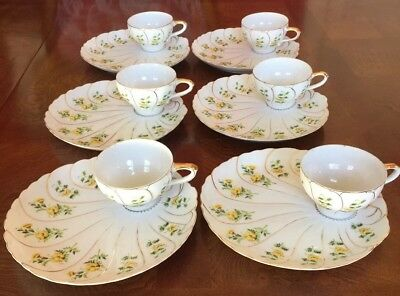 Vintage Noritake Snack Set Yellow Floral Gold Trim Made in Japan Service for 6