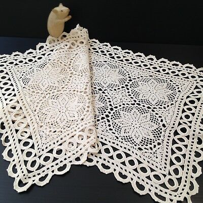Ecru Crocheted Lace Table Runner - 75 x 37cm - Unusual Eyelet Border Design