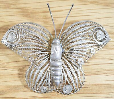Vintage Midcentury Mexico Sterling Filigree Butterfly Brooch 6096