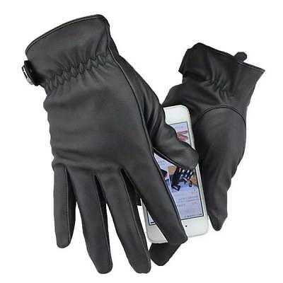 Mens Driving Gloves Touch Screen Winter Thermal Leather Buckle Black Mitten Gift