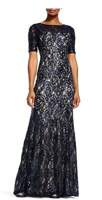 adrianna papell dress size 8 -Navy lace with Ivory