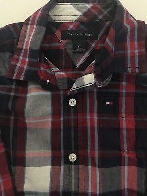 Tommy Hilfiger Toddler Boy 3T Long Sleeve Button Down Shirt Navy/Red/White Plaid