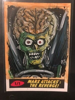 2017 Topps MARS ATTACKS Revenge 1/1 sketch card Robert Jimenez