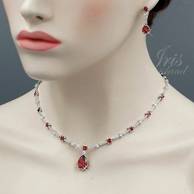 White Gold Plated Red Cubic Zirconia Necklace Earrings Wedding Jewelry Set 00669