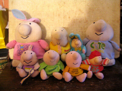"""8 Rare Htf Vintage Ziggy Collectable Plush Dolls Lot , """" Sold As Is """""""