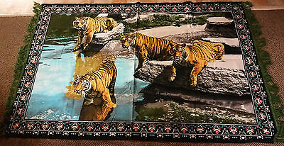 "Vintage  ""tigers Pattern Tapestry"" Wall Hanging Rug , Made In Turkey"