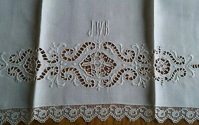 "Vintage 34"" Homespun Linen Towel ~ Needle Lace & Hand Embroidery ~ Monogram Jwb"