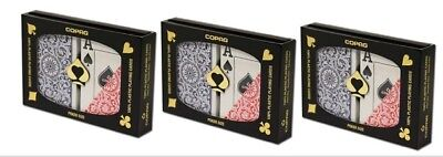 3PK Special Copag Plastic Playing Cards Poker Size Jumbo Index Red Blue FREE CUT