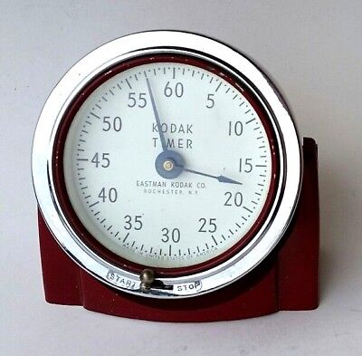 Vintage Eastman Kodak Red Analog Wind Up Darkroom / Developing Timer Model 8239