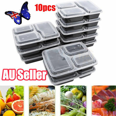 10pcs Microwavable Meal Prep Containers Plastic Food Storage Reusable Box NW