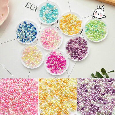500X Round Fake Pearl Loose Beads No Hole DIY Craft Jewelry Making Supply Tool