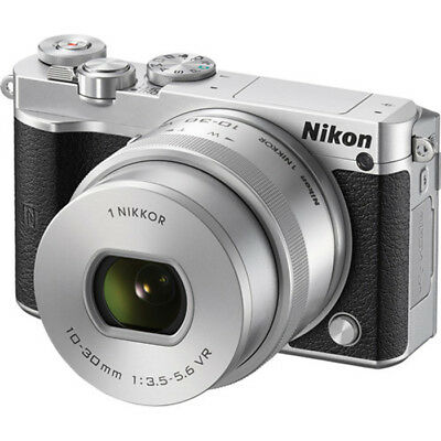Nikon 1 J5 Mirrorless Digital Camera with 10-30mm Lens Silver PX