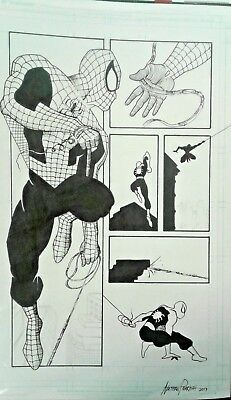 Spider Man Comic Page INKED ORIGINAL ART Nathan Parrish Marvel style