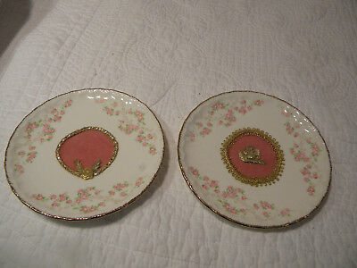 2 Bread Plates Porcelain Pope Gosser China Pink Roses Gold Trim/Decorated Middle