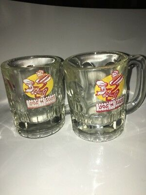 """Vintage Dog N Suds Root Beer Glass Mug 4 1/4"""" Tall Collectible Red Yellow Retro"""