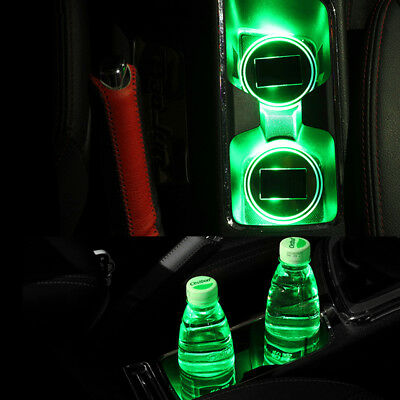 Solar Charge Car Auto Cup Holder Bottom Pad Mat LED Light Cover Trim - 3Colors
